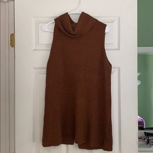 Sleeveless cowl neck sweater in brown